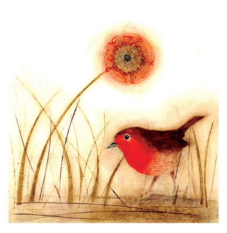 Little Cock Robin collagraph print