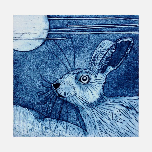 March Hare collagraph print