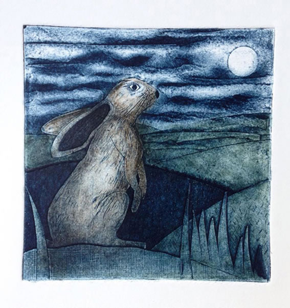 Moon Gazing Hare collagraph print