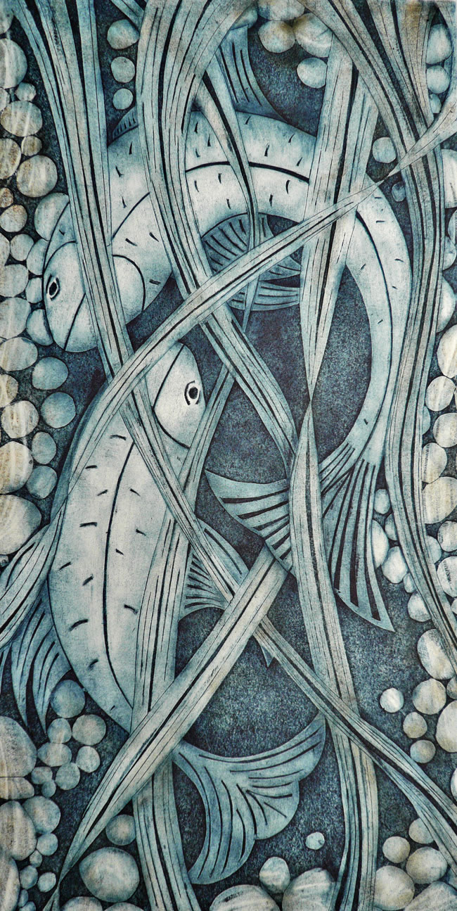 My Father's Fishpond collagraph print