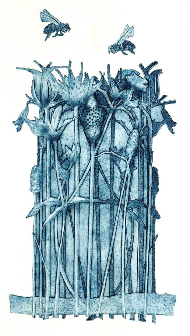 Nectar Hunt collagraph print
