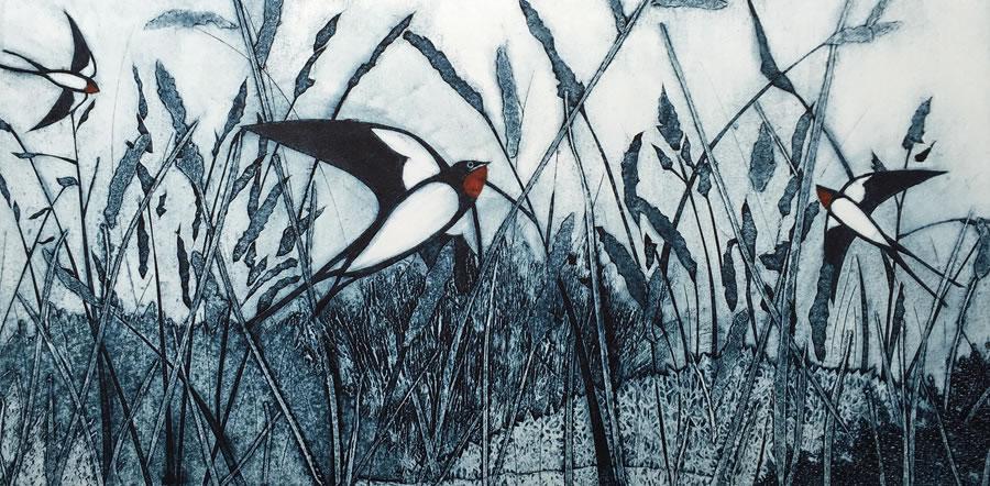 Swallows Over Grassland collagraph print
