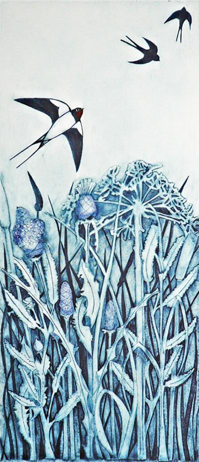 Swallows Return collagraph print