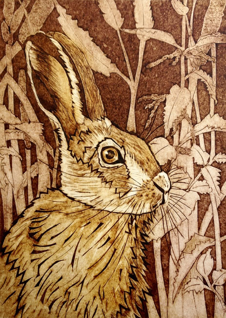 The Autumn Hare collagraph print